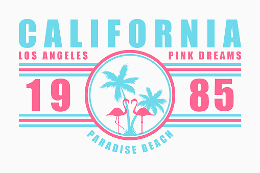 California typography for t-shirt with slogan. Los Angeles fashion graphics with palm tree and flamingo for design clothes. Vector