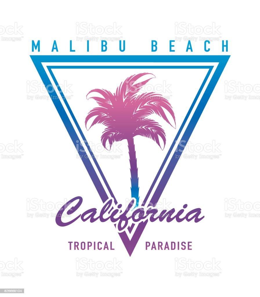 Tipografía de California con palm árbol verano playa surf vacaciones concepto vector gráfico impresión diseño de camiseta - ilustración de arte vectorial