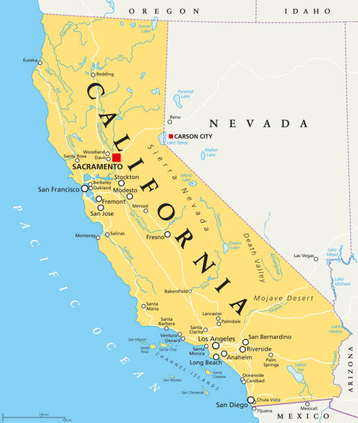 Kalifornien, Vereinigte Staaten, politische Karte – Vektorgrafik