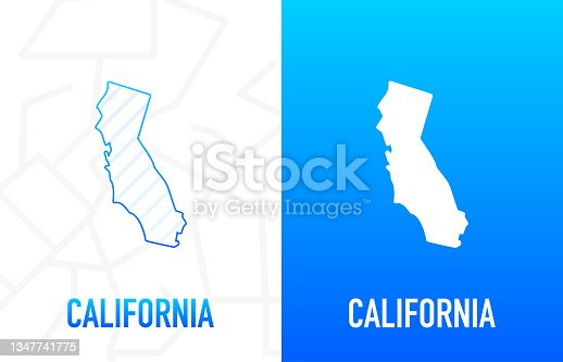 istock California - U.S. state. Contour line in white and blue color on two face background. Map of The United States of America. Vector illustration. 1347741775