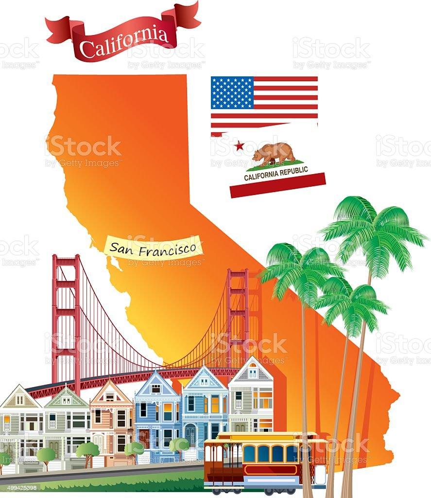 California vector art illustration