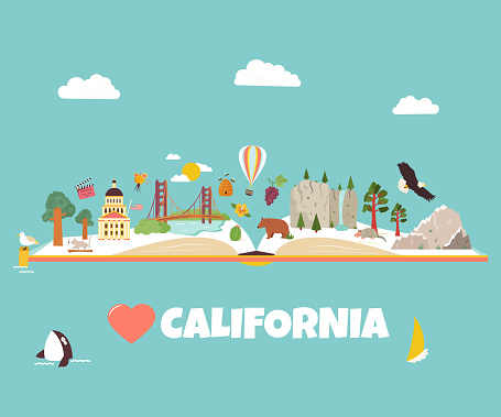 California vector illustrated concept for banners, tour guides, leaflets, magazines
