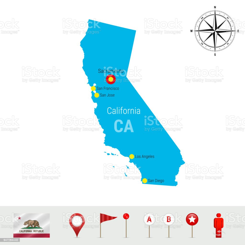 California Vector Map Isolated on White Background. Detailed Silhouette of California State. Official Flag of California vector art illustration