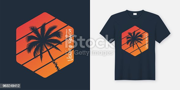 California Venice Beach t-shirt and apparel design, typography, print, vector illustration. Global swatches.