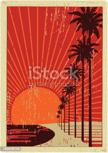 old postcard with classic californian palms trees. plain colors