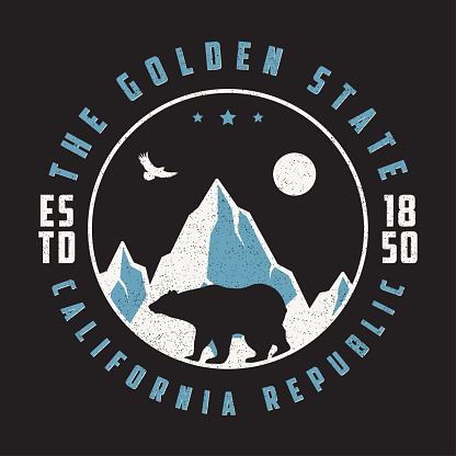 California vintage t shirt with grizzly bear, mountains and eagle.