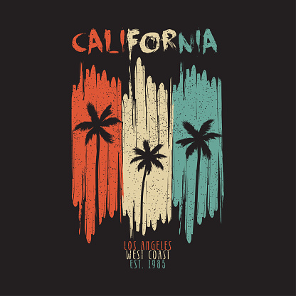 California vintage t-shirt typography with palm trees and grunge. Los Angeles original apparel design for summer clothes print. Vector