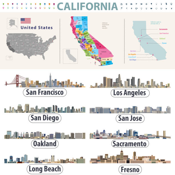 California's vector high detailed map showing counties formations. Skylines of major cities of California California's vector high detailed map showing counties formations. Skylines of major cities of California alameda california stock illustrations