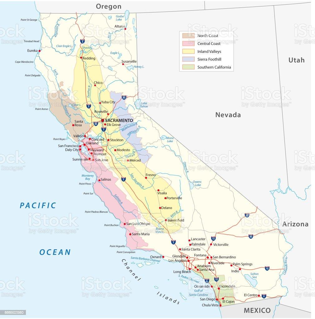California's wine-growing regions map vector art illustration