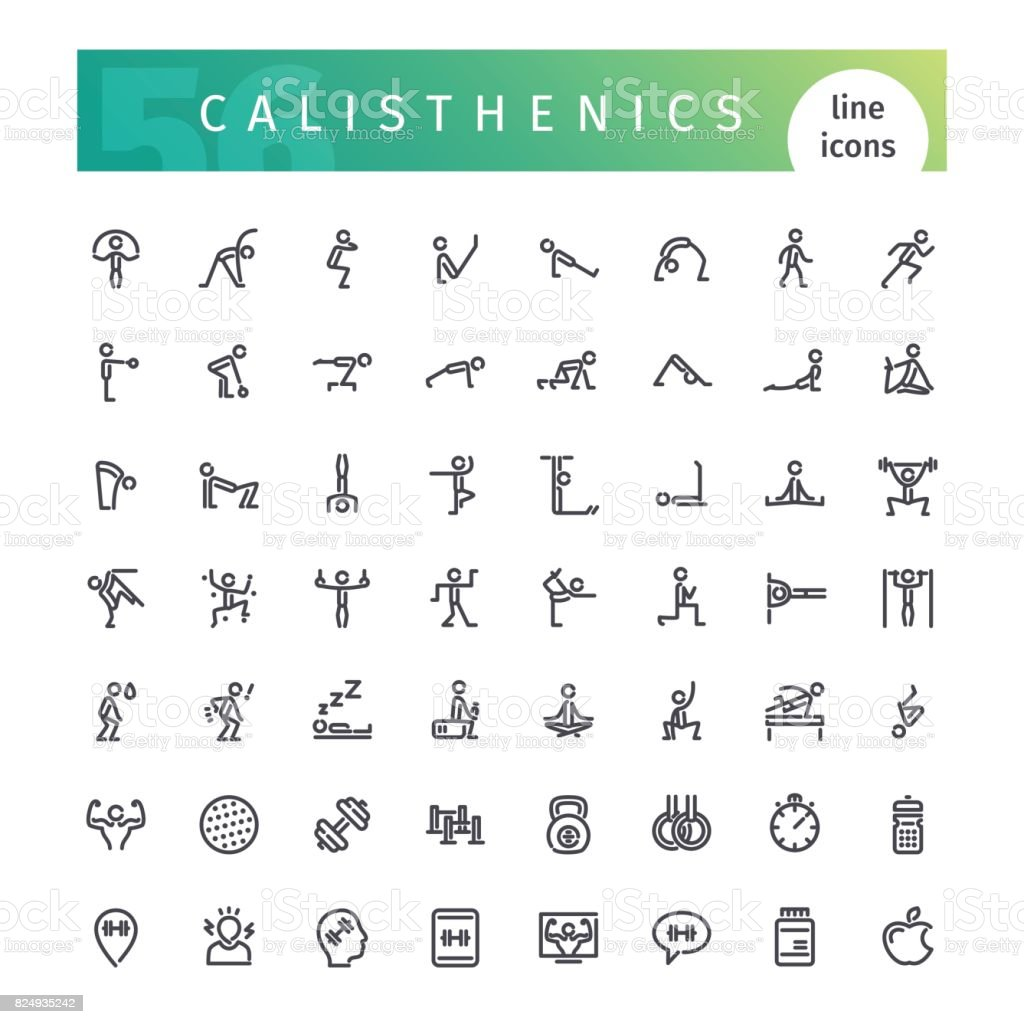 Calisthenics Line Icons Set vector art illustration