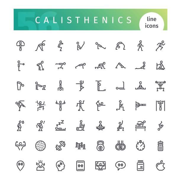 illustrations, cliparts, dessins animés et icônes de la gymnastique suédoise ligne icons set - gymnastique sportive
