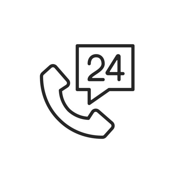 Call 24 hours icon. Simple thin line design. Vector icon vector art illustration