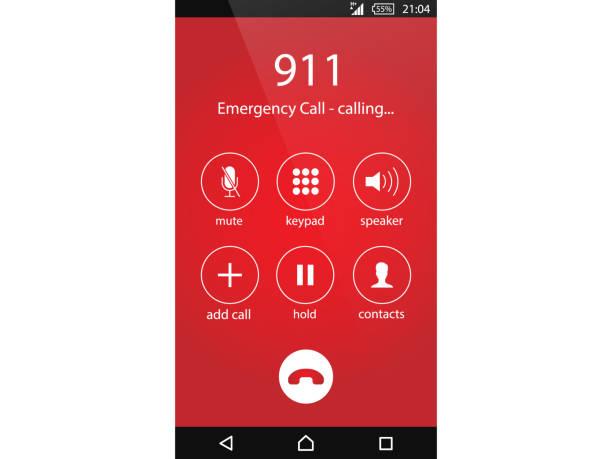 전화 911 긴급 전화 개념 현대적인 평면 디자인 벡터 일러스트 레이 션 - first responders stock illustrations