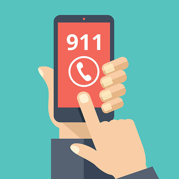 call 911, emergency call. hand holding smartphone, touching call button - first responders stock illustrations