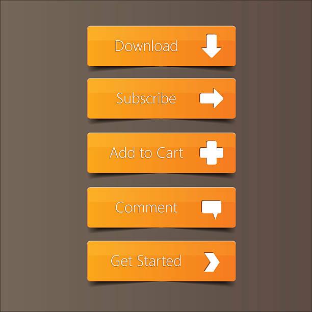 ilustrações, clipart, desenhos animados e ícones de ligue para botão ação fundo laranja - pin