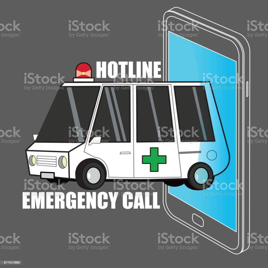 Call Ambulance Car Via Mobile Phone Concept Emergency Call