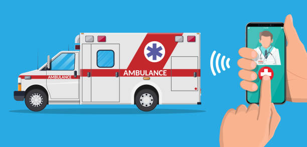 Call ambulance car via mobile phone. Call ambulance car via mobile phone. Man calling on phone to hospital. Smartphone with doctor and medical van. Healthcare, hospital and medical diagnostics. Urgency services. Flat vector illustration urgent care stock illustrations