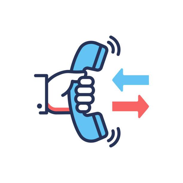 illustrazioni stock, clip art, cartoni animati e icone di tendenza di call back - modern vector line design single icon. - raccogliere frutta