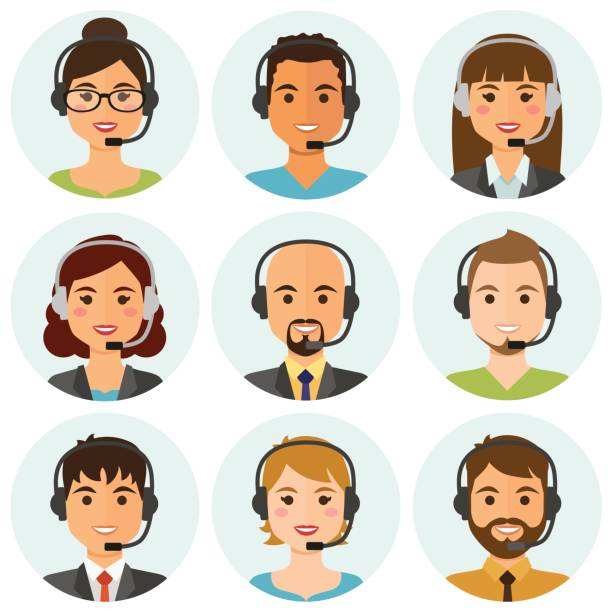 call center agents avatars - call center stock illustrations