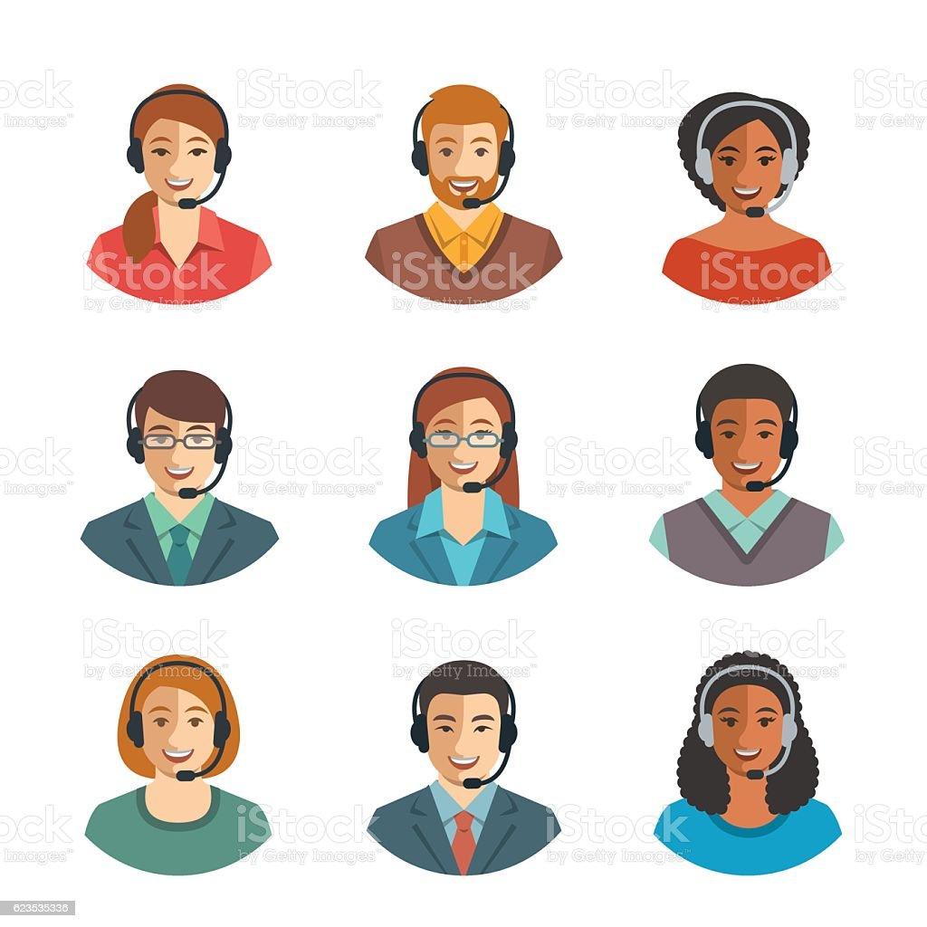 Call center agents flat avatars - Illustration vectorielle