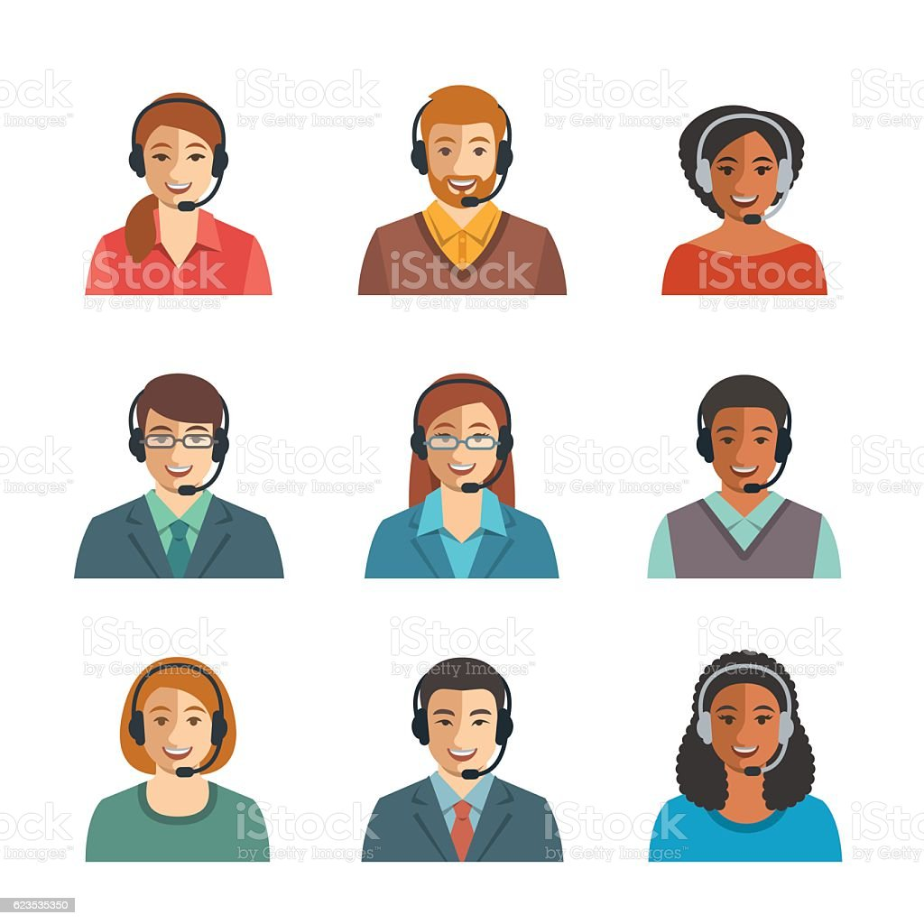 Call center agents flat avatars vector art illustration