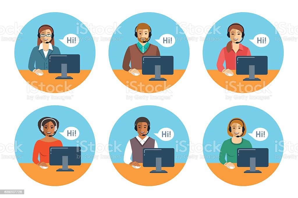 Call center agents team at desks flat icons ベクターアートイラスト