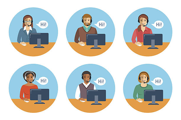 ilustrações, clipart, desenhos animados e ícones de call center agents team at desks flat icons - call center