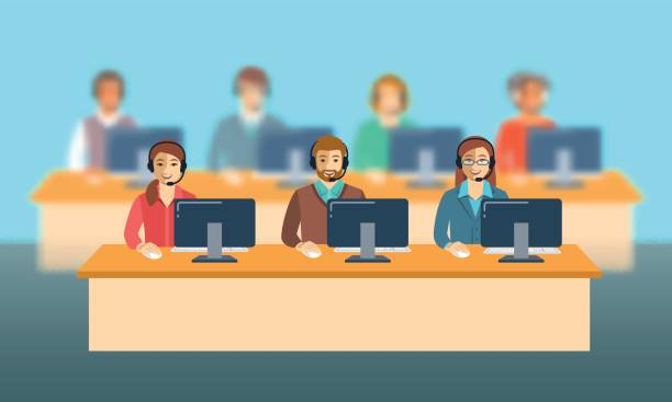 Call center agents team at office flat banner Call center agents team at office. Flat vector banner. Customer care operators, guys and girls with smiling faces sitting at desks with computers. Online support service assistants with headphones. call centre illustrations stock illustrations