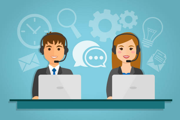 call center agents - call center stock illustrations