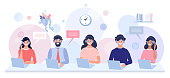 Call center and Support service and concept illustration. Office workers using headphones for talking with customers. Perfect for web design, banner, mobile app, landing page, vector flat design