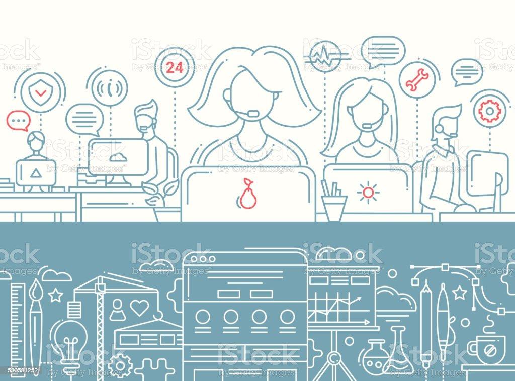 Call Center, el desarrollo de la aplicaciones de línea de conjunto de banners de diseño - ilustración de arte vectorial