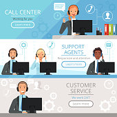 Call center banners. Support agents characters customer service phone helping operators vector cartoon illustrations. Support assistance, help service