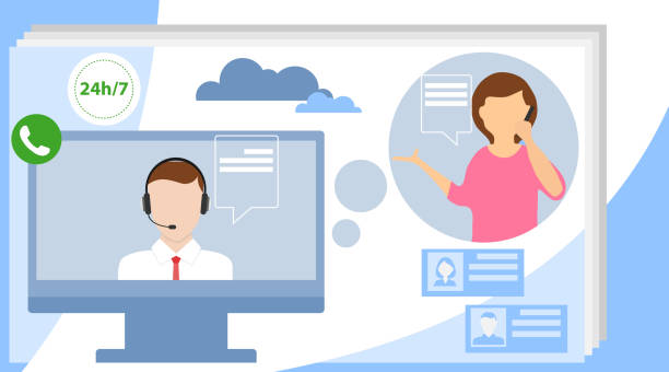 Call center concept. Can use for web banner, infographics, hero images. Customer support concept. Flat vector illustration. Call center concept. Can use for web banner, infographics, hero images. Customer support concept. Flat vector illustration. call centre illustrations stock illustrations