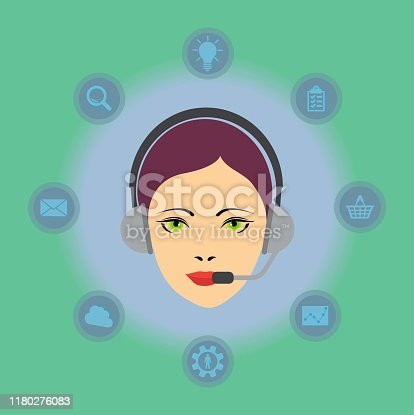 Call center concept: woman head with headset and different symbols background, vector