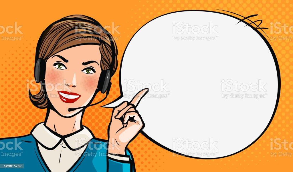 Call center, atención al cliente, helpdesk o servicio concepto. Hermosa joven con auriculares. Pop art estilo cómic retro. Vector ilustración de dibujos animados - ilustración de arte vectorial