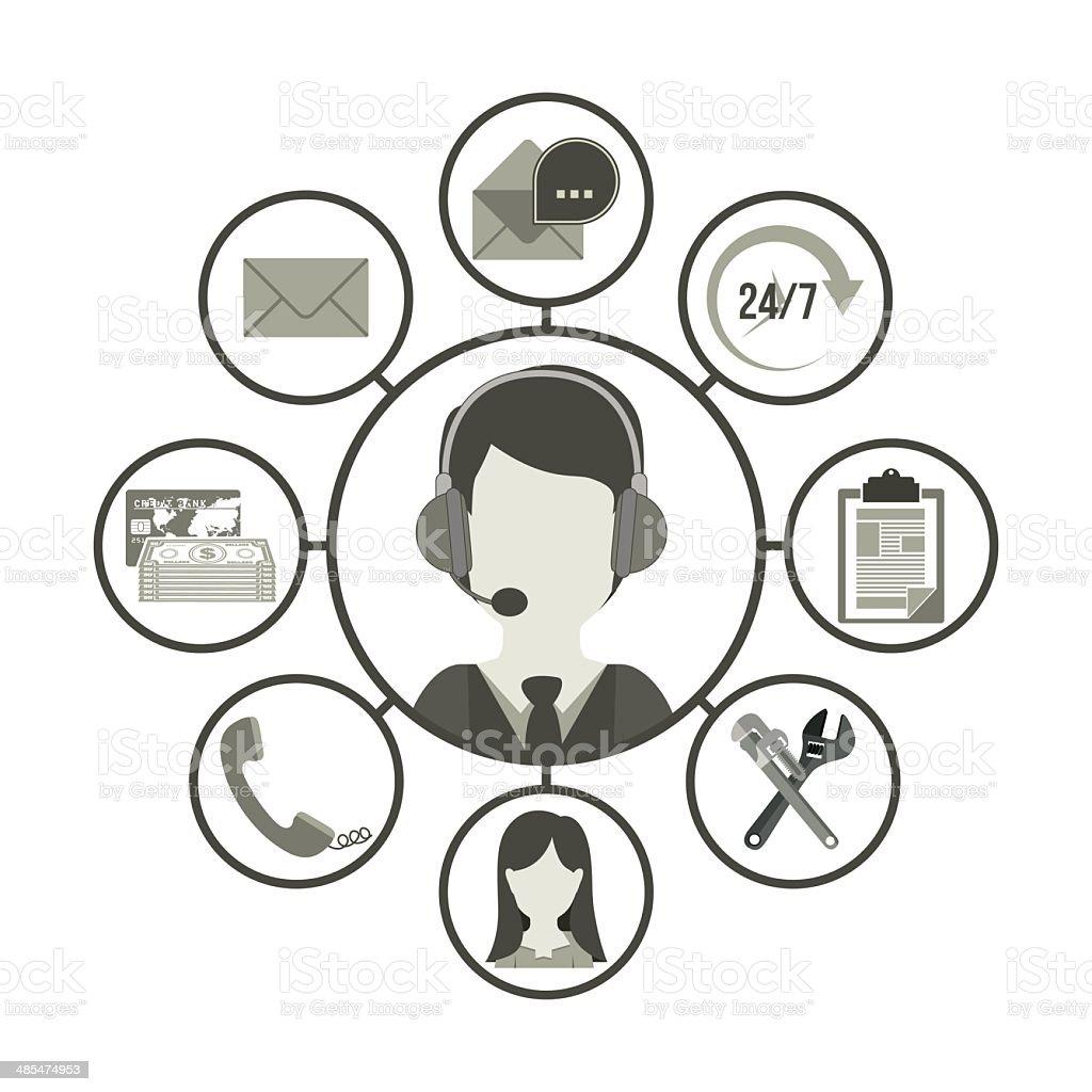 Call center design vector art illustration