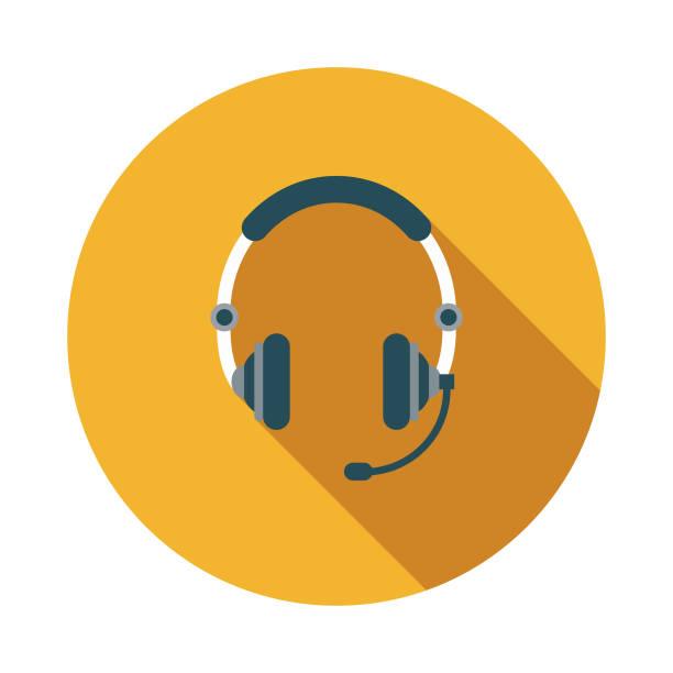 bildbanksillustrationer, clip art samt tecknat material och ikoner med call center flat design räddningstjänsten ikon - headset