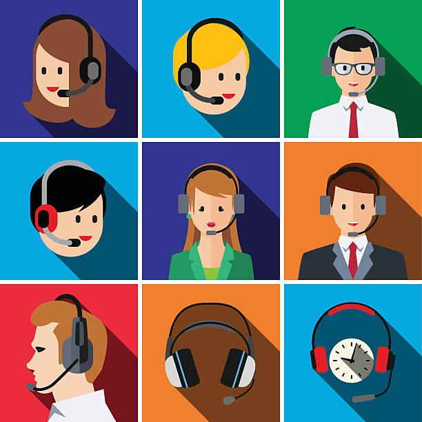 illustrations, cliparts, dessins animés et icônes de call center flat icon set - dispatcheur