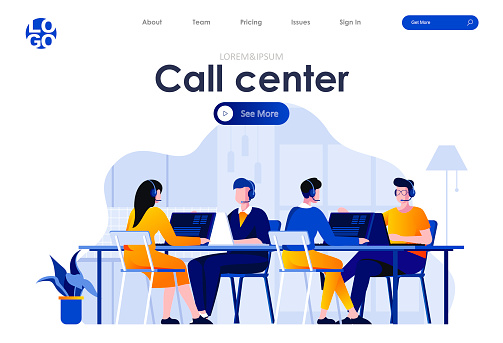 Call center flat landing page design. Hotline operators with headsets in office scene with header.