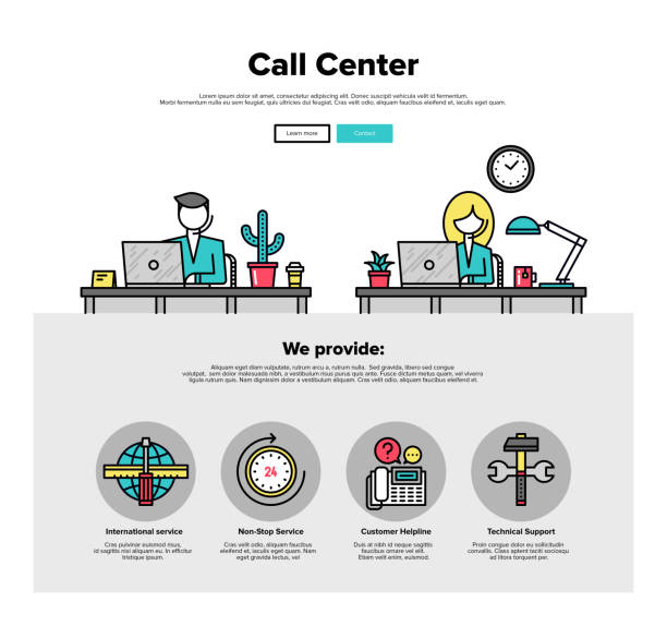 Call center flat line web graphics One page web design template with thin line icons of call center support, customer service helpline operator, business solution provider. Flat design graphic hero image concept, website elements layout. call centre illustrations stock illustrations