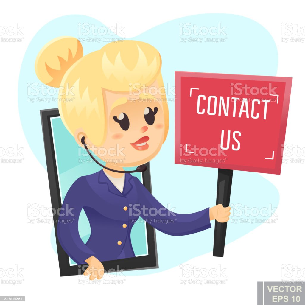Contact Us Funny >> Call Center Help Design Beautiful Funny Woman Holding Sign