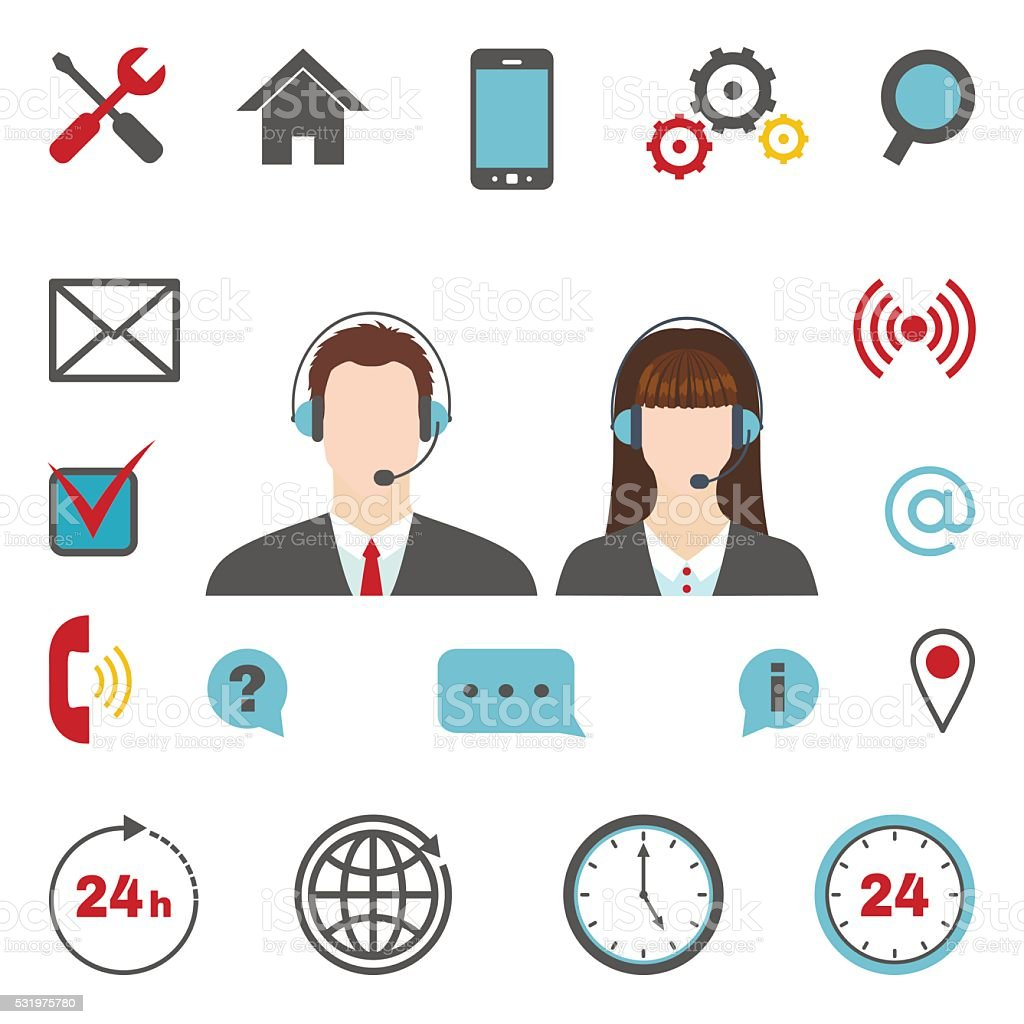 Call center icons set vector art illustration