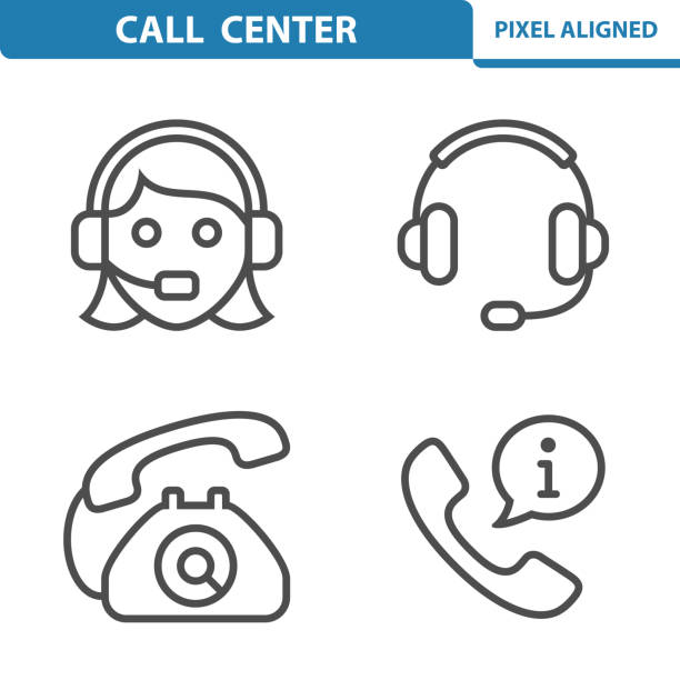 call center icons - call centre stock illustrations
