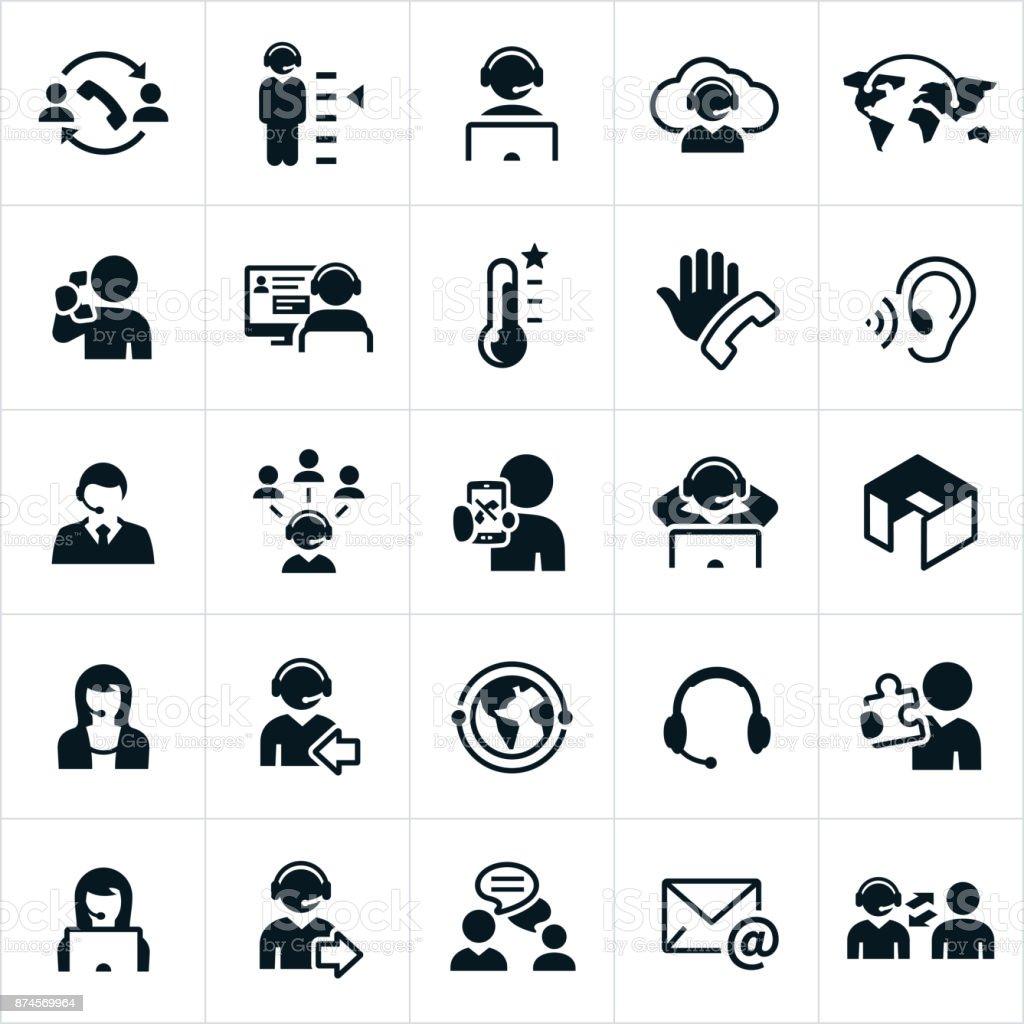 Iconos de Call Center - ilustración de arte vectorial