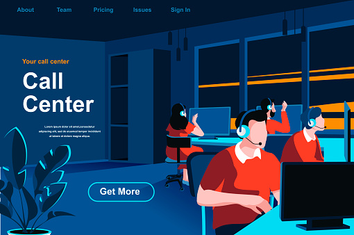 Call center isometric landing page. Hotline operators with headsets in office website template.
