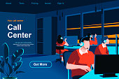 istock Call center isometric landing page. Hotline operators with headsets in office website template. 1226723873