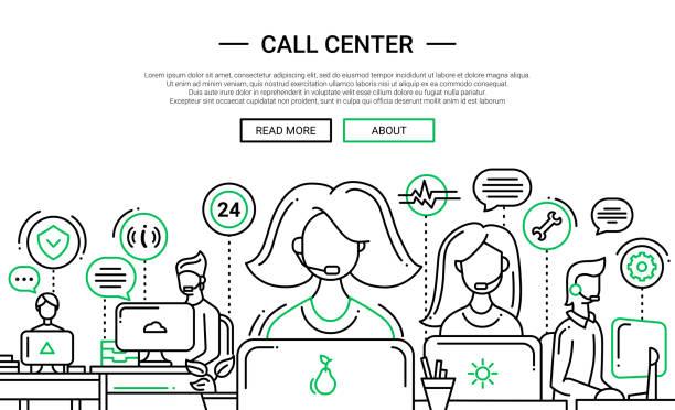 Call Center - line design website banner temlate - Illustration vectorielle