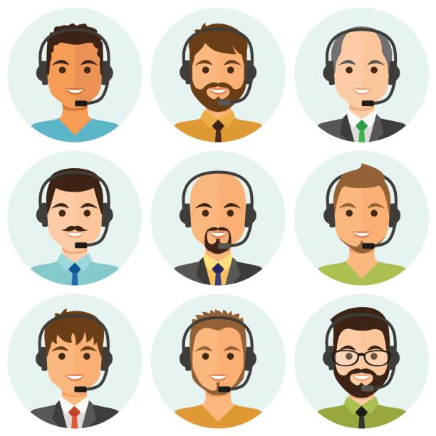call center men agents avatars - call center stock illustrations
