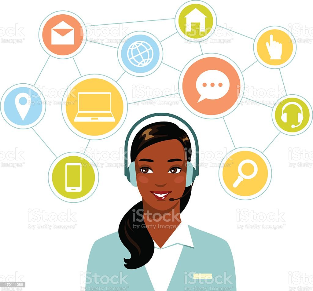 Call center online customer support african american woman operator vector art illustration