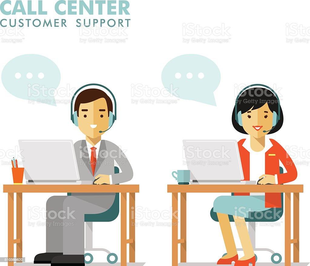 顧客サポートコールセンターのオンラインオペレータのコンセプト人々 ベクターアートイラスト